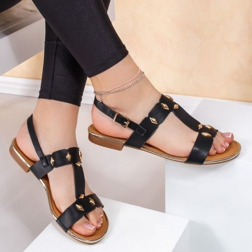 Sandale dama cu talpa joasa negre