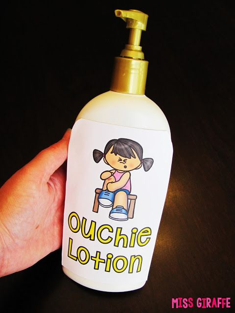 "Ouchie Lotion is perfect for those ""My arm hurts! Can I go to the nurse?"" questions... a squirt of Ouchie Lotion and they're magically better! Click to get the FREE label and read more fun classroom management strategies and ideas!:"