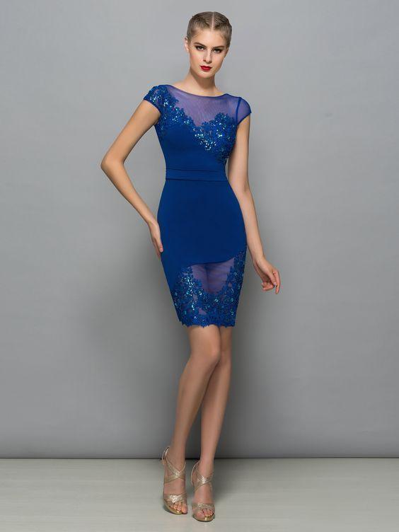 2020 Saks Mavi Elbise Modelleri Kisa Transparan Detay Islemeli Kisa Kollu Mezunlar Gecesi Elbiseleri Kokteyl Elbisesi Mini Elbiseler