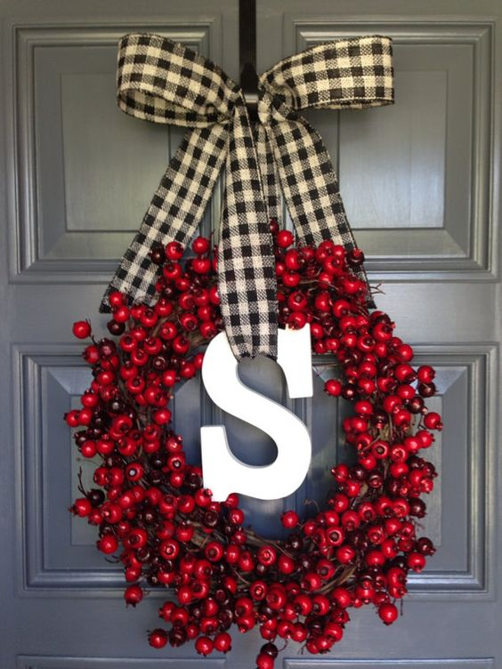 Christmas Red Berry Black & White Burlap Ribbon Monogram Letter S Grapevine Wreath Door Decor Holidays