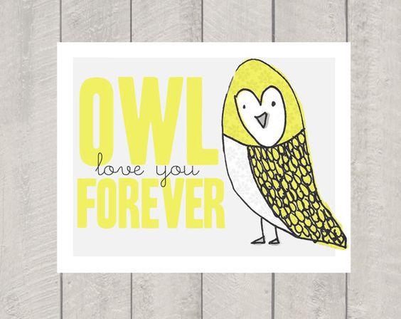 Nursery Art Print - Owl Love You Forever - 11x14.