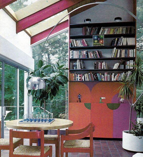 Purple, red, black sunroom. Storage, A House and Garden Book, Melinda Davis, Pantheon Books, New York, 1978.