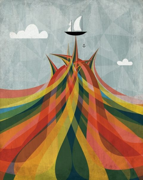 rainbow boat! vector illustration by Andrew Bannecker