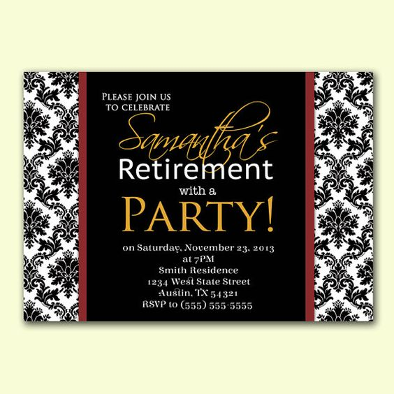 Retirement Party Invite Damask Formal Party Invitation