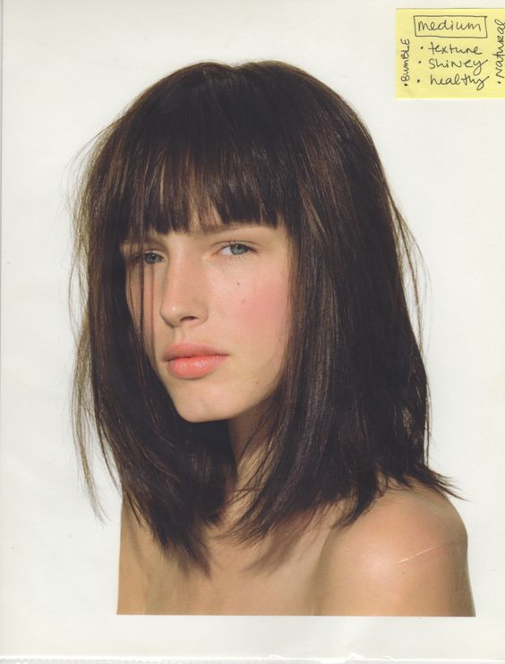 Long Bob with Bangs and Medium Brown Warm Hair Color. #longbob #haircolor #brunette eSalon.com                                                                                                                                                      More