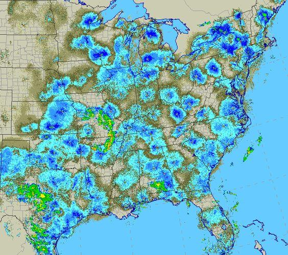 Doppler radar of birds during the height of fall migration. Image from the blog Minnesota Birdnerd.