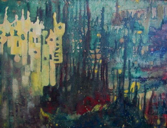 """Magical Castle Fantasy"" Watercolor Painting, Dream, Unique, Modern, Home Decor, #Gift Ideas, #Art . By Barbara Rosenzweig. This #abstract #fantasy #painting appears like a dream of a #castle , perhaps under water, in a forest with scattered moonlight. This #magical scene is a fine art reproduction of my original oil painting. Copyright © 2011 by Barbara Rosenzweig, matted print of original 11x14 $34 Free Shipping US, Etsy."