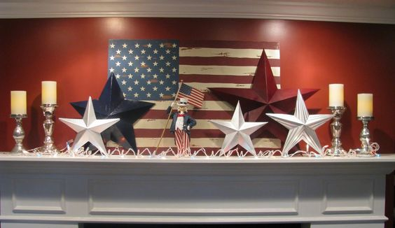 Patriotic decor, put with banner for mantle display for Fourth of July.  Use something besides Uncle Sam.  All I think of taxes when I see him! (another pinner states but I agree)