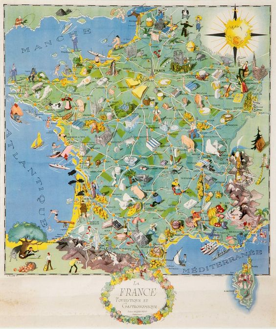 la france tourism and gastronomy map