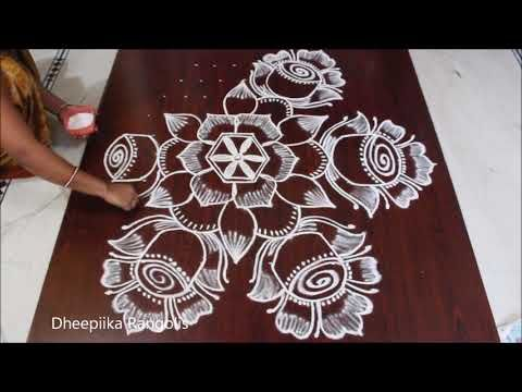 Very Easy Flower Rangoli With Dots 11 6 Dots Rose Kolam Rose Flower Rangoli Design Simple Rangoli Rangoli Designs Rangoli Border Designs Rangoli With Dots