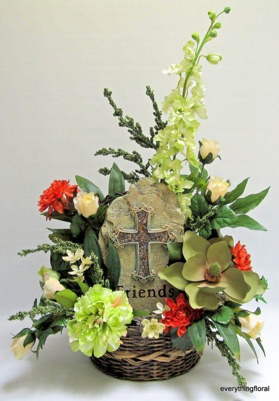 Flower Basket Arrangement Ideas : Silk flower arrangement memorial snapdragons magnolia