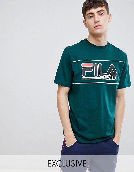 Fila t shirt with retro panel logo in green | Camisetas