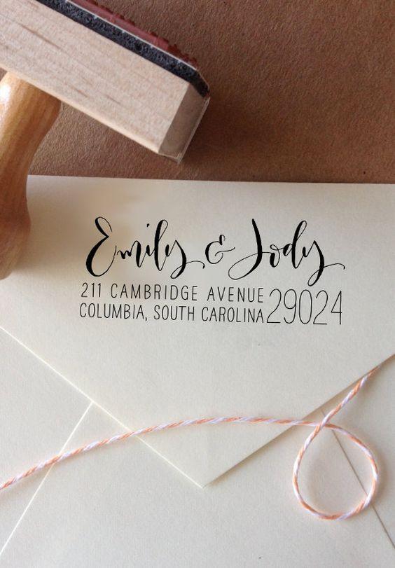 Calligraphy Return Address Stamp Mixed Handwritten