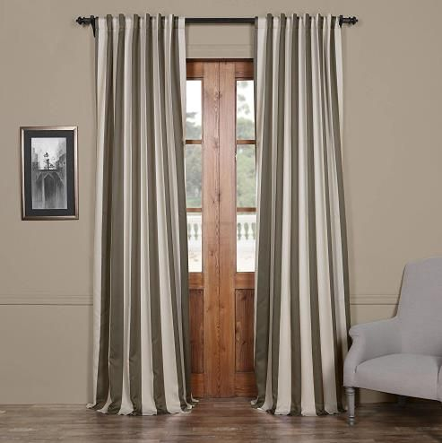 Modern Vertical Striped Gray And Cream Living Room Window Curtains