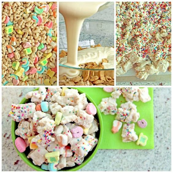 Lucky charm white chocolate Chex Mix! Oh, man, this looks divine! Two of my favorite things in one :D