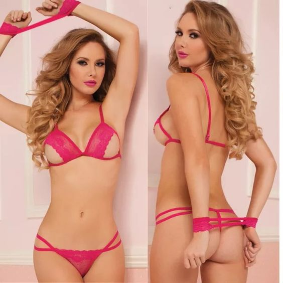 Sexy pink 3 PC lingerie set(A216) NEW sexy hot pink 3 PC lingerie set includes bra top+panties+handcuffs...brand new fits XS/S Intimates & Sleepwear