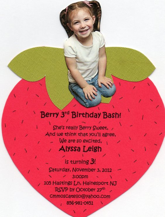 Handmade Strawberry Shortcake Invitation. by ChristyCustomCreates, $23.00