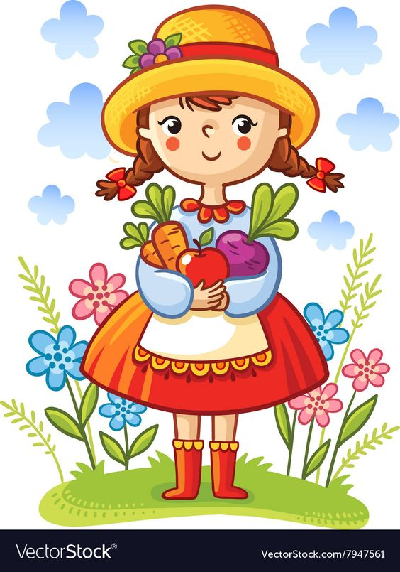 Girl With Vegetables In The Hands Vector Image On Vectorstock Art Drawings For Kids Art For Kids Drawing For Kids