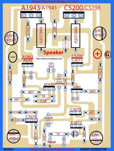Transistor Circuit Diagram Using A1941 And C5198 Circuit Diagram Hifi Amplifier Diy Amplifier