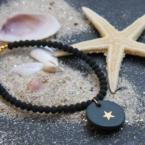 Bracelet porcelaine noir mat & étoile or