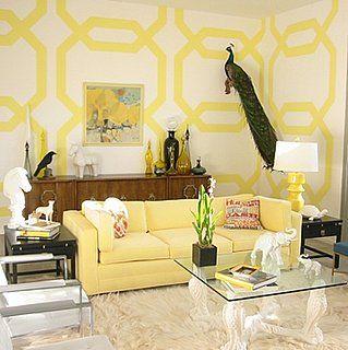 kelly wearstler: Geometric Pattern, Yellow Wall, Coffee Table, Living Room, Yellow Room, Sitting Room, Jill Crawford, Wall Design