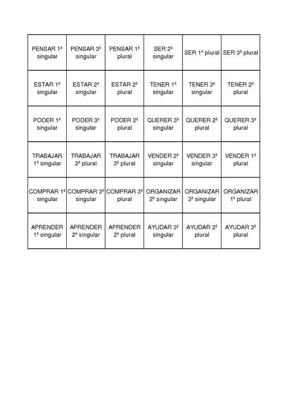 Bingo el presente de indicativo ficha profesor for Conjugaison espagnol hablar