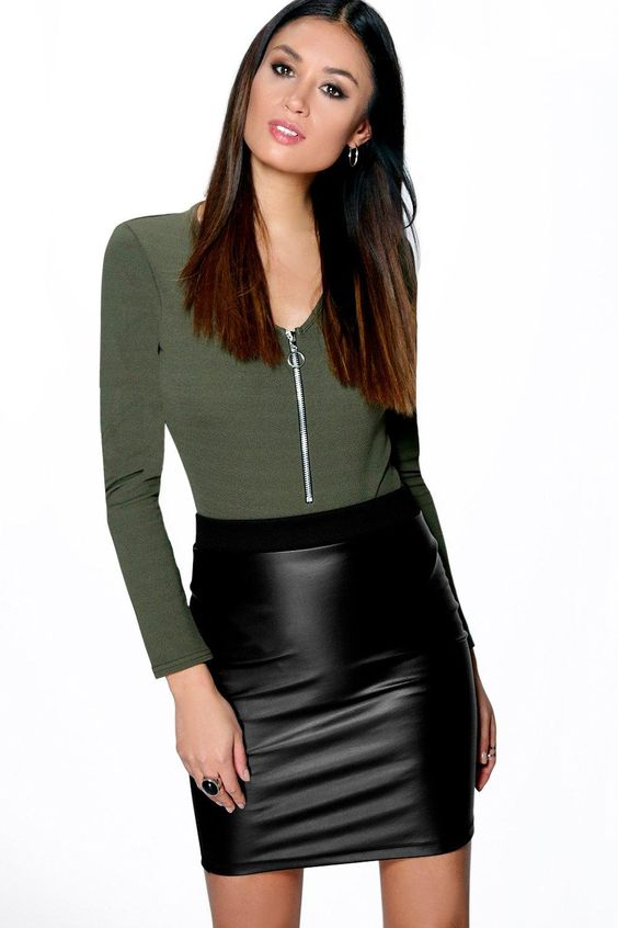 Leather, A line and Mini skirts on Pinterest