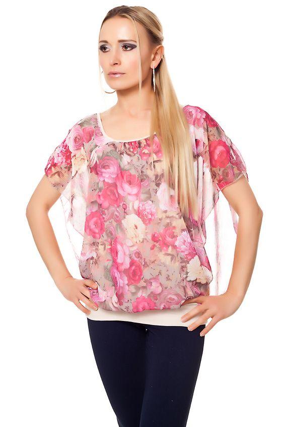 Chiffon Tunika Shirt mit Blumen