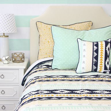 Our best selling Aztec Gold and Mint is know available in twin/full/queen duvet covers! The aztec and tirbal print is the perfect boy or gender neutral design for a big kid room!