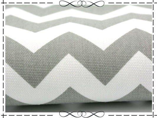 Stoff grafische Muster - Baumwolle Canvas, Chevron, Zickzack, grau auf weiß…