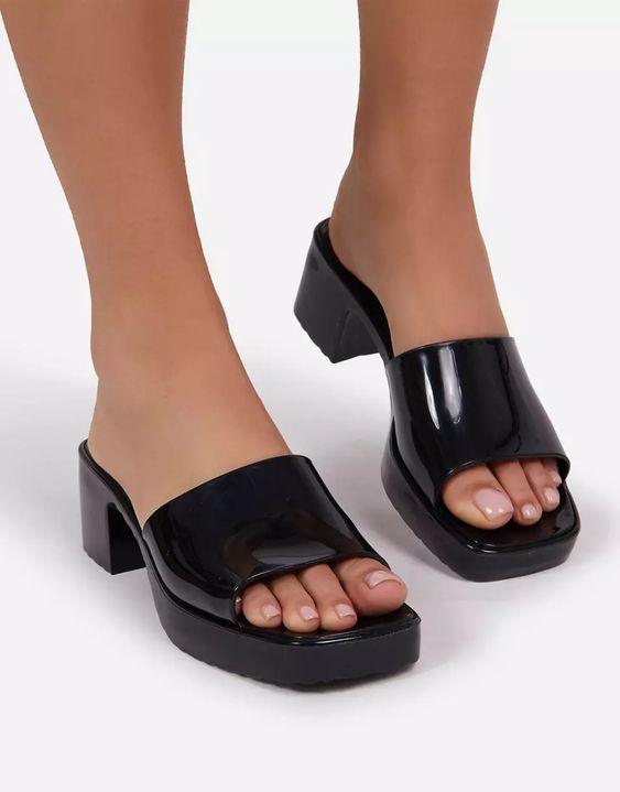 Ego Rhea mid heel mule sandals in black | ASOS