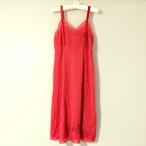 Vintage Red Dress Perfect vintage condition, satin red dress. Flower detailing. Dresses Midi