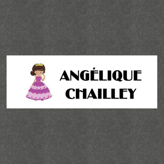 """16 Etiquettes scolaires personnalisées Thème """"Princesse Fille"""" : Stickers par creerpourvous"""