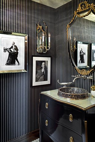 Black and White Powder Room by Joy Tribout Interior Design ideas and decor: