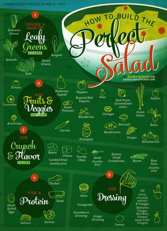 For satisfying and delicious salads that won't leave you hungry. 21 charts for a healthier diet
