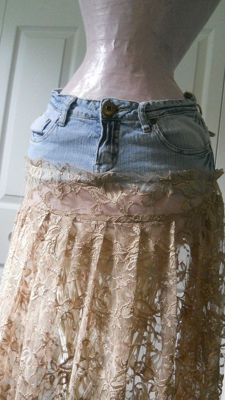 Lace jeans, Jean skirts and Vintage lace on Pinterest