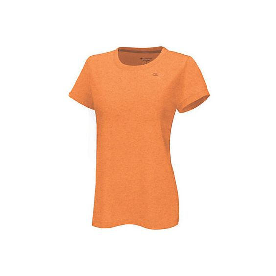 Champion Womens Powertrain Heather T-Shirt (19 NZD) ❤ liked on Polyvore featuring activewear, activewear tops, orange, champion sportswear, champion activewear and athletic sportswear