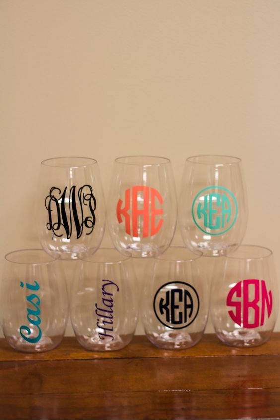 Stemless Wine Glasses With Monogram Great Gift Idea Choose - Vinyl decals for drinking glasses