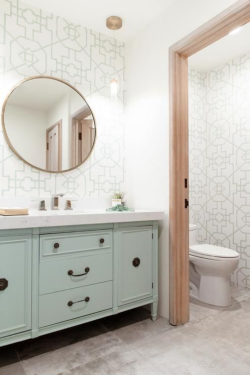 Nothing Says Quaint Quite Like A Mint White And Gold Tones In A Cozy Contempo Contemporary Bathroom Designs Contemporary Bathroom Vanity Contemporary Bathroom