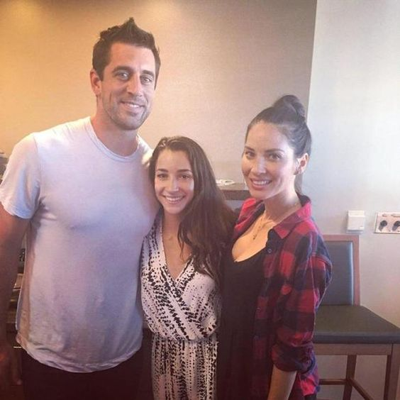 Aly Raisman meets Aaron Rodgers and Olivia Munn