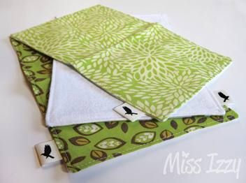 Funky Baby Cloths/ spill cloths. 100% cotton one side and 100% cotton flannel on other