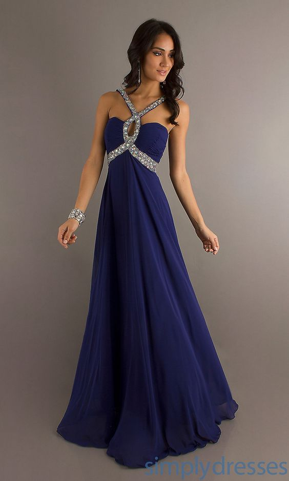 Long Dark Blue Prom Dresses
