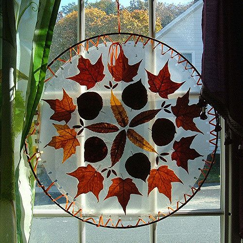 I Just sandwiched the leaves between sheets of clear contac paper that I had cut into circles; then, laced them into the metal ring with narrow orange satin ribbon, thru holes I had punched !