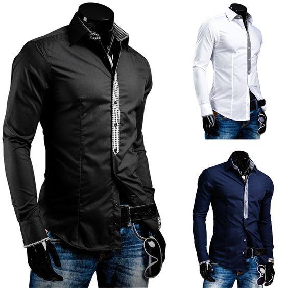 Fashion New Long Sleeve Shirts Men,Outerwear Men's Casual Shirt,Korea Slim Design,8694