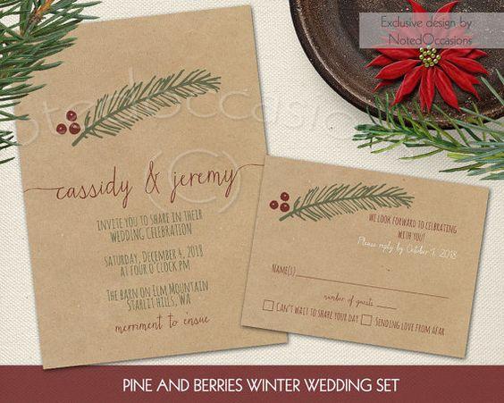 Winter wedding invitation suite printable wedding invite for Digital wedding invitations with rsvp