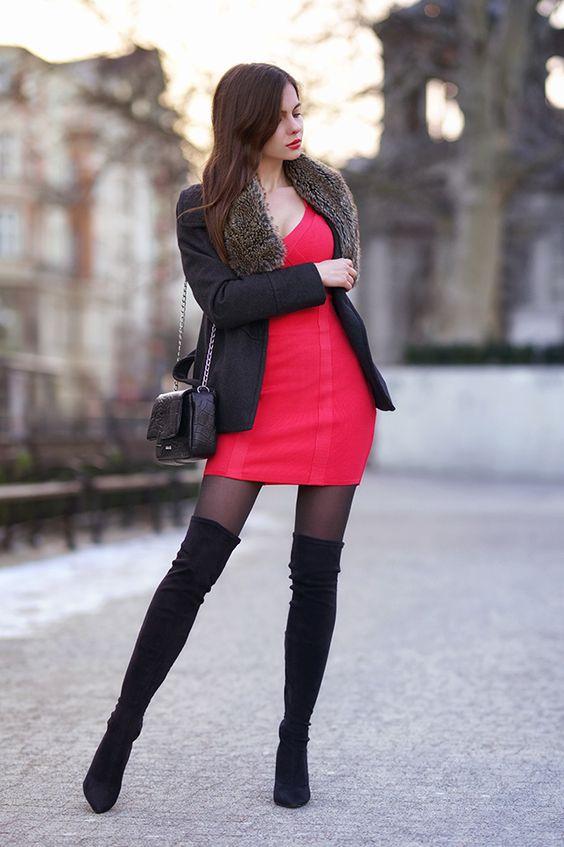 Rozowa Obcisla Sukienka Czarne Dlugie Kozaki Zloty Zegarek I Szary Plaszczyk Ari Maj Personal Blog B High Knee Boots Outfit Long Black Boots Boots Outfit