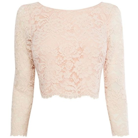 Coast Manon Lace Top, Blush (£79) ❤ liked on Polyvore featuring tops, pink floral top, floral tops, scalloped lace top, lace tops and long sleeve tops