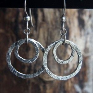 Hammered fine silver double circle dangles - .999 Fine Silver earrings - Minimalist textured Sterling Silver artisan earrings -