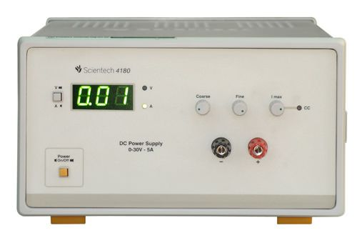 Scientech 4180 DC Power Supply is designed as a Constant Current (CC) and Constant Voltage (CV) source for use in laboratories, industries and field testing. With compact size, light weight and low Power loss, it provides DC output voltages for Analog and Digital testing. The DC output can be adjusted from 0 - 30V with coarse and fine controls. Current limit is adjustable from 20mA to 5A. Over loading is indicated by LED. After crossing the Specified limit a audible beep will sound. A…