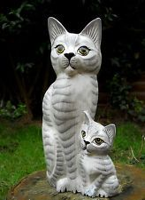 Wooden Carved Figure Lovely Family Cat 31 cm  Home Decoration Indonesia
